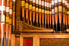 Detail of the 1904 Clough and Warren Auxillary Pipe Organ in the Fort Davis First Presbyterian Church.