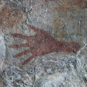 Hand print in Cueva Larga